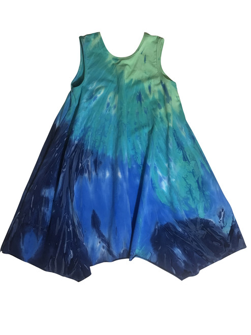 Girls trapeze dress with pockets- Sea