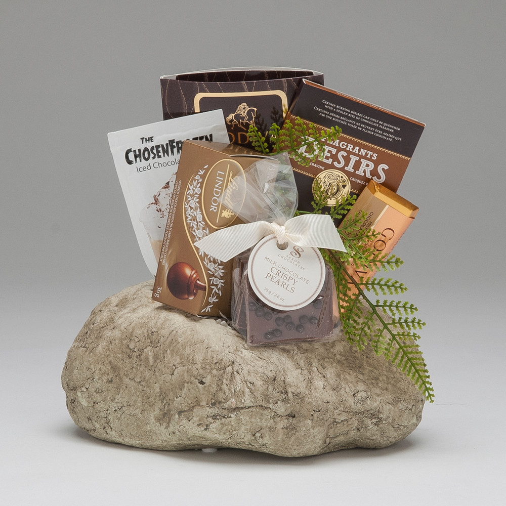 A marvelous gift of fine chocolate all tucked into our Rock Planter, perfect for the person who loves to garden (or at least loves indoor plants!) We think it's pretty splendid...and we think they will too!