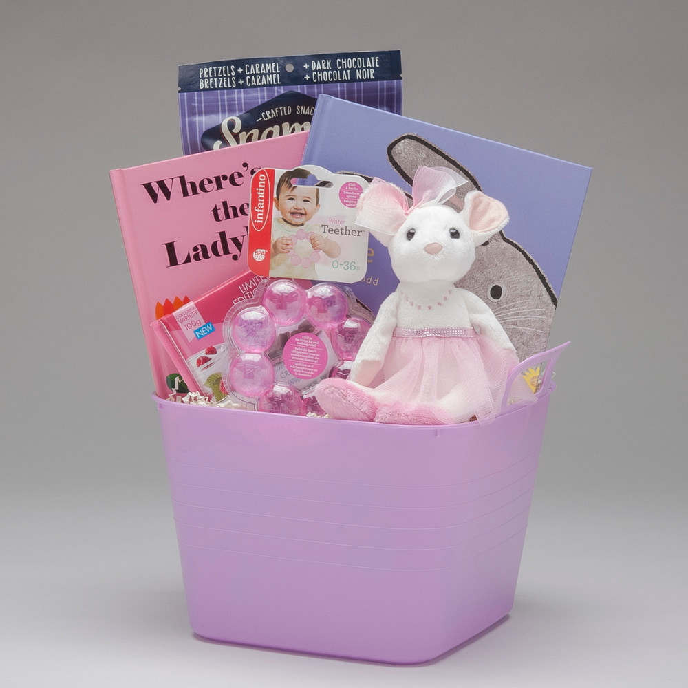 This pink and purple & altogether girlie toy bucket features Petunia the Ballerina Mouse by Douglas, fabulous books & teether and a few special treats for Mom & Dad...guaranteed to bring happy smiles!