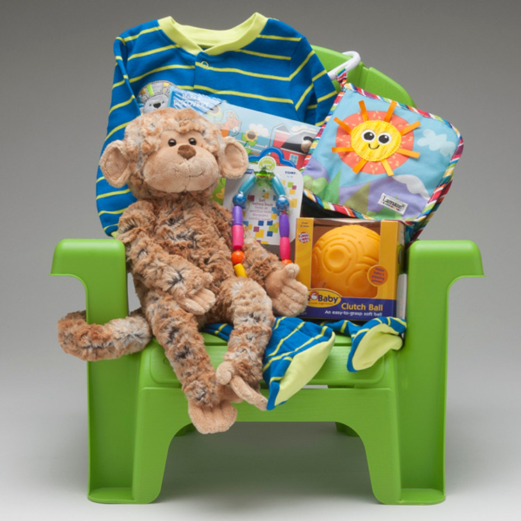 This Little Tikes child-size chair comes loaded with a friendly & fun selection of toys and gear for the little one; sleeper, book, puzzle, teether, easy-to-grasp ball, and the cutest monkey stuffie by Douglas...a gift that will grow with the child in the months to come!