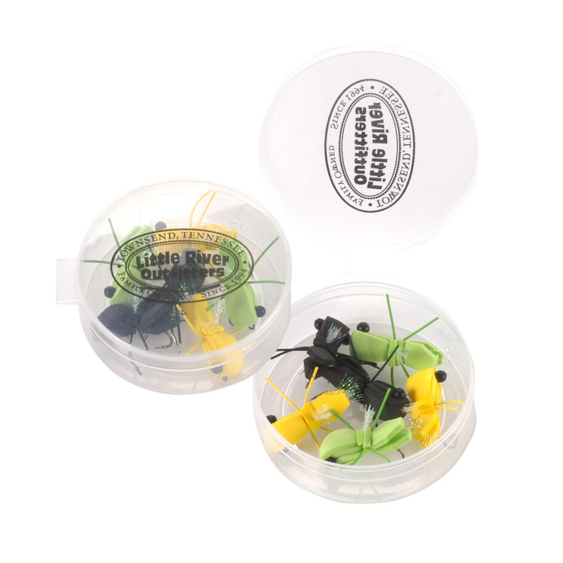 Byron's Knucklhead Bass Fly 6-Pack Selection Shown in Free Round Fly Box