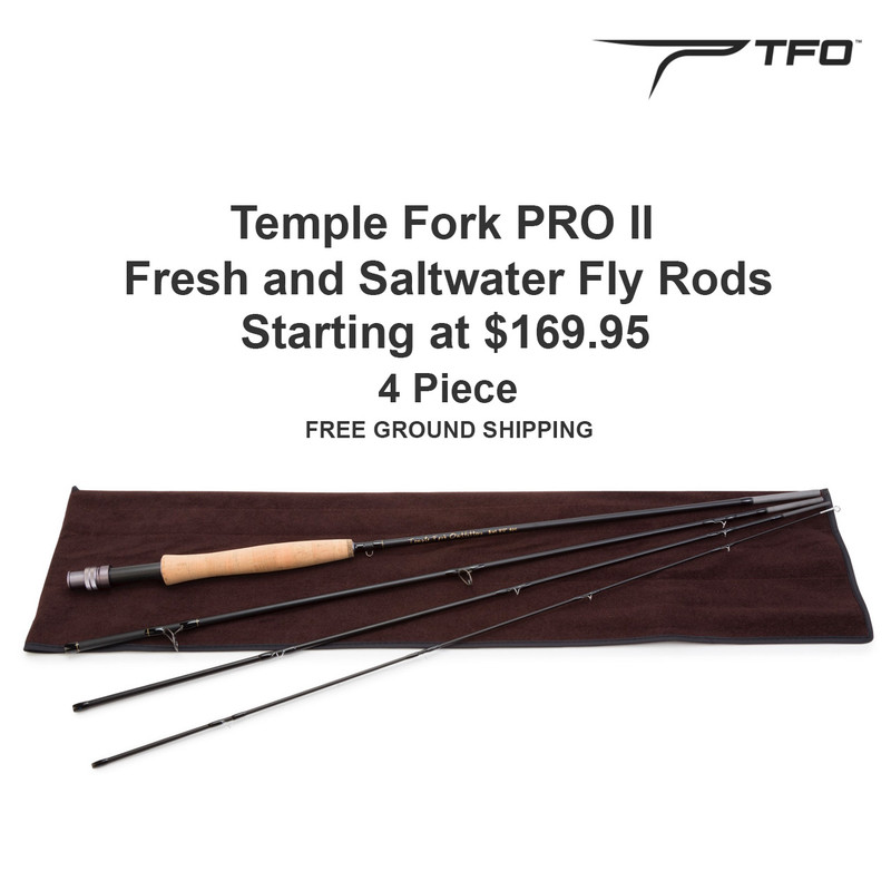 Temple Fork Pro II Fly Rod Shown With Rod Sock, Price, Free Ground Shipping and the TFO Logo