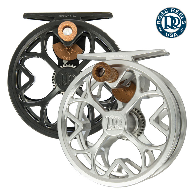 Front View of Ross Colorado LT Fly Fishing Reels in Both Colors, Matte Black and Platinum