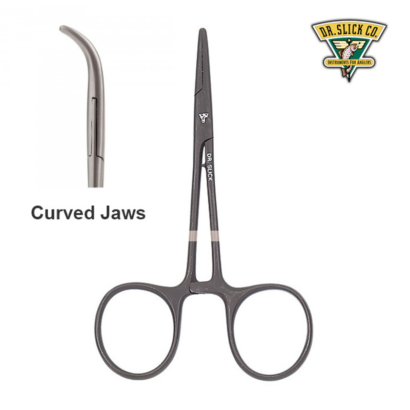 "Dr. Slick 5"" Clamp Forceps Black Curved CC5B"