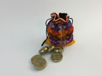 12 bronze tokens for the Game of Sapo, each set comes with a storage bag made of peruvian fabric.