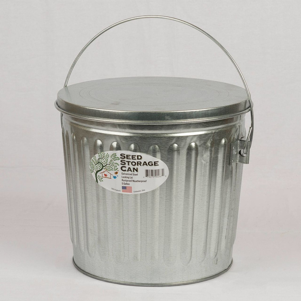 Galvanized Seed Storage Can w/ Lid - 5 Gal.