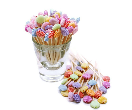 100 Pastel Acrylic Bead Seashell Toothpicks, Shell Toothpicks
