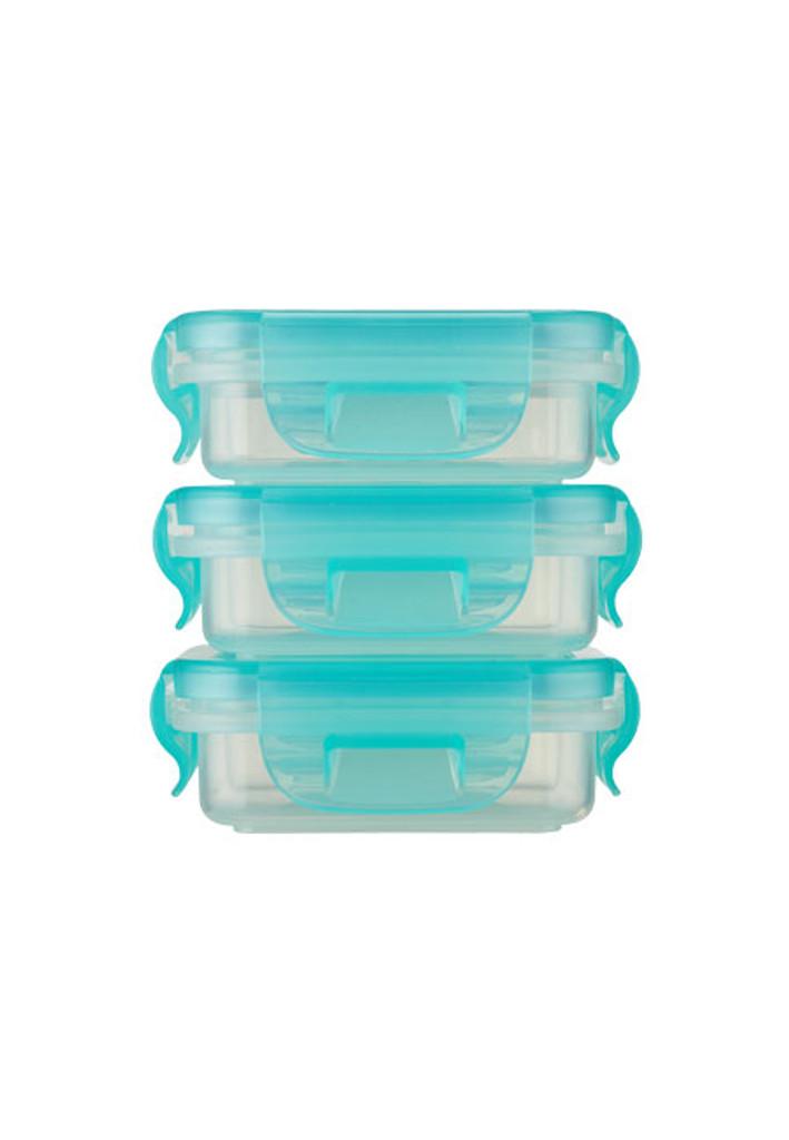 Preppin' SMART EZ Lock Plastic Container - 3 Pack / Square