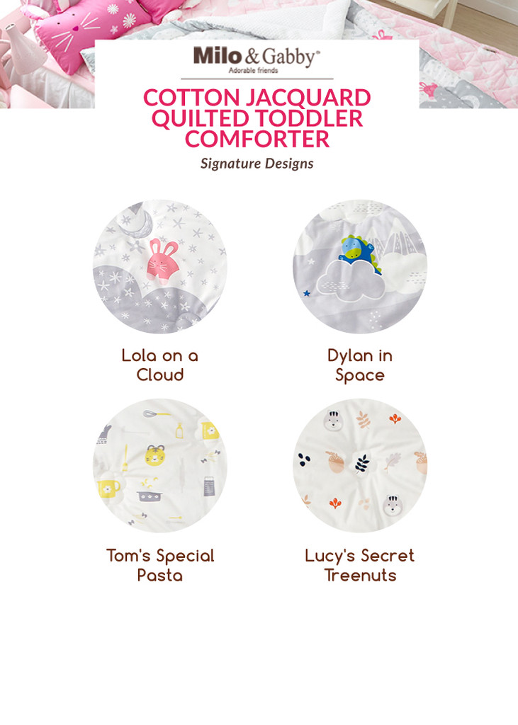Cotton Jacquard Quilted Toddler Comforter - Lola on a Cloud