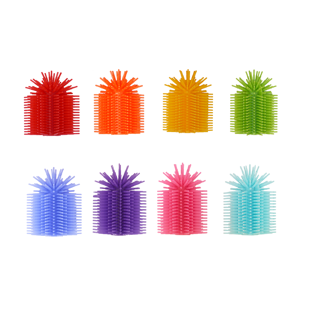 SPIKE SILICONE FIDGET TACTILE PENCIL TOPPER (PARTY PACK 8 COUNT )(ASSORTED COLORS)