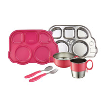 Din Din SMART Stainless Mealtime Set - Pink