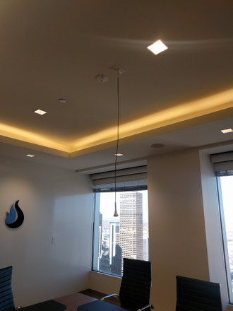 Ceiling microphone in real estate investment company conference room