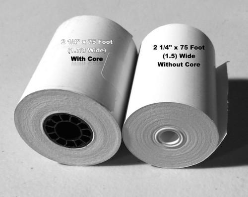 "2 1/4"" x 1.5 Coreless"" (75 Feet) BPA FREE Grade A Thermal Rolls. 100/Per Case"