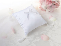 Plain Satin Ring Pillow White
