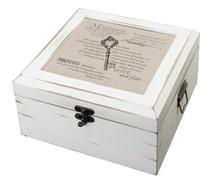Antique White Card Box Christian