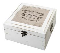 Antique White Card Box True Love