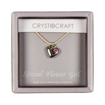 Crystocraft Necklace With Heart Charm Our Special Flower Girl