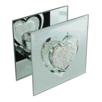 Hestia Glass And Mirror Single Tealight Holder Crystal Heart
