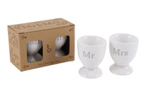 Set of 2 'Mr. And Mrs.' Egg Cups