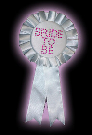 Bride To Be White Rosette With Stones