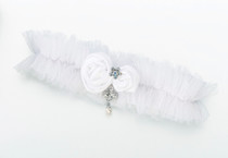 Tulle Garter With Jewel White