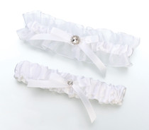 Satin Rhinestone Garter Set White