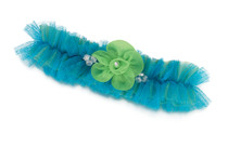 Blue Green Tulle Garter