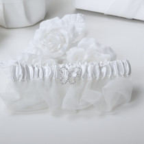 Butterfly Satin Garter - White