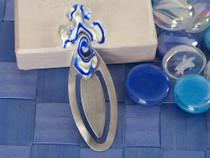 Murano Art Deco Blue And White Cross Design Bookmark