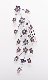 Large Jewelled Hair Comb-Lilac