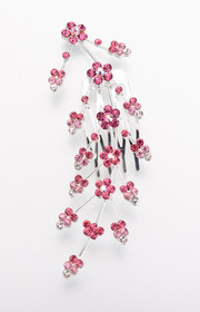 Large Jewelled Hair Comb-Pink