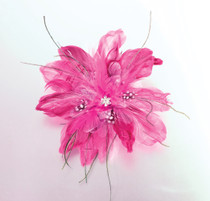 Feather Hair Clip Hot Pink