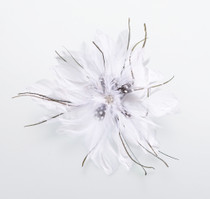 Feather Hair Clip White