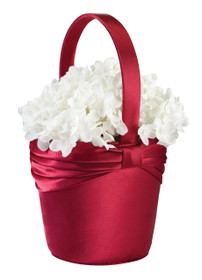 Satin Flower Basket Red