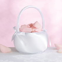 Satin Flower Basket White
