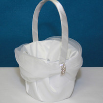 Rhinestone Flower Basket - White