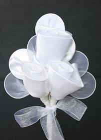 Three Rose Raquet In White - Set of 12