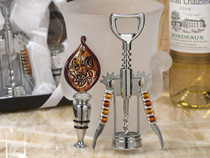 Murano Art Deco Collection Wine Opener & Wine Stopper Set