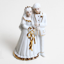 Porcelain Bride And Groom Ornament Cake Topper