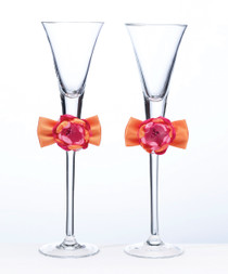 Hot Pink Orange Toasting Flutes