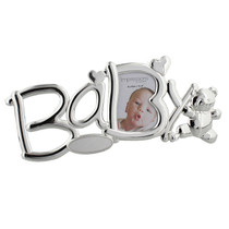 Silver Plated Baby Photo Frame With Teddy