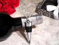 Ornate Heart Silver Bottle Stopper