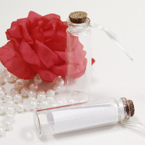 6 x Glass Message Bottles With Ivory Ribbon