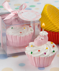 Pink Cupcake Design Candle Favours