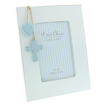 Petit Cheri' Baby Collection MDF Frame Cross And Heart 4x6 Blue