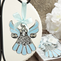 Shimmering Blue And Pewter Color Angel Ornaments