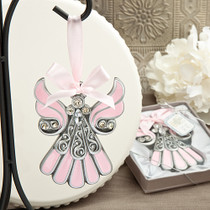 Shimmering Pink And Pewter Color Angel Ornaments