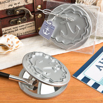 Round Compact Mirror With Anchor Design