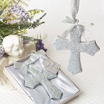 Silver Glitter Design Cross Ornament From White Dream