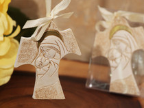 Stunning Cross Ornament With Ivory Ribbon